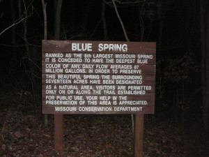 Sign at Blue Spring